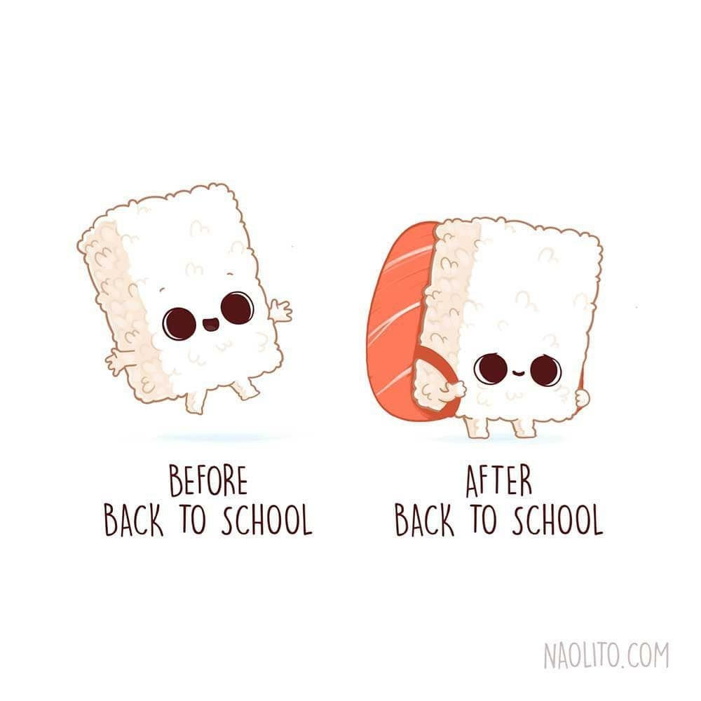 "Best Funny Illustration Nacho Diaz Arjona on Instagram: ""Sushi is back! (to school)   swipe to see my other sushi designs!  #sushi #nigiri #school #backtoschool #cute #kawaii #cuteness #aww #awww…"" 사진 설명이 없습니다. 11"