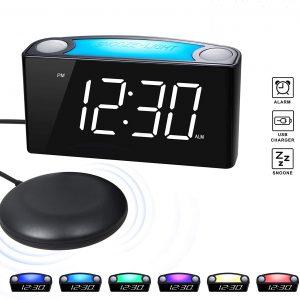Rocam Vibrating Loud Alarm Clock 7 Colored Night Light Loud Alarm Clock Led Alarm Clock Alarm
