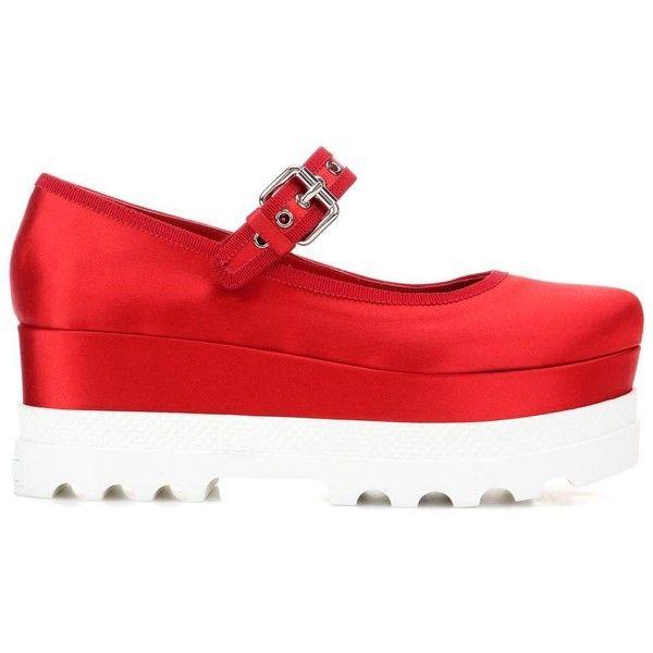 Miu Miu Satin Platform Shoes ($760) ❤ liked on Polyvore featuring shoes, pumps, red satin shoes, red pumps, platform shoes, miu miu pumps and platform pumps