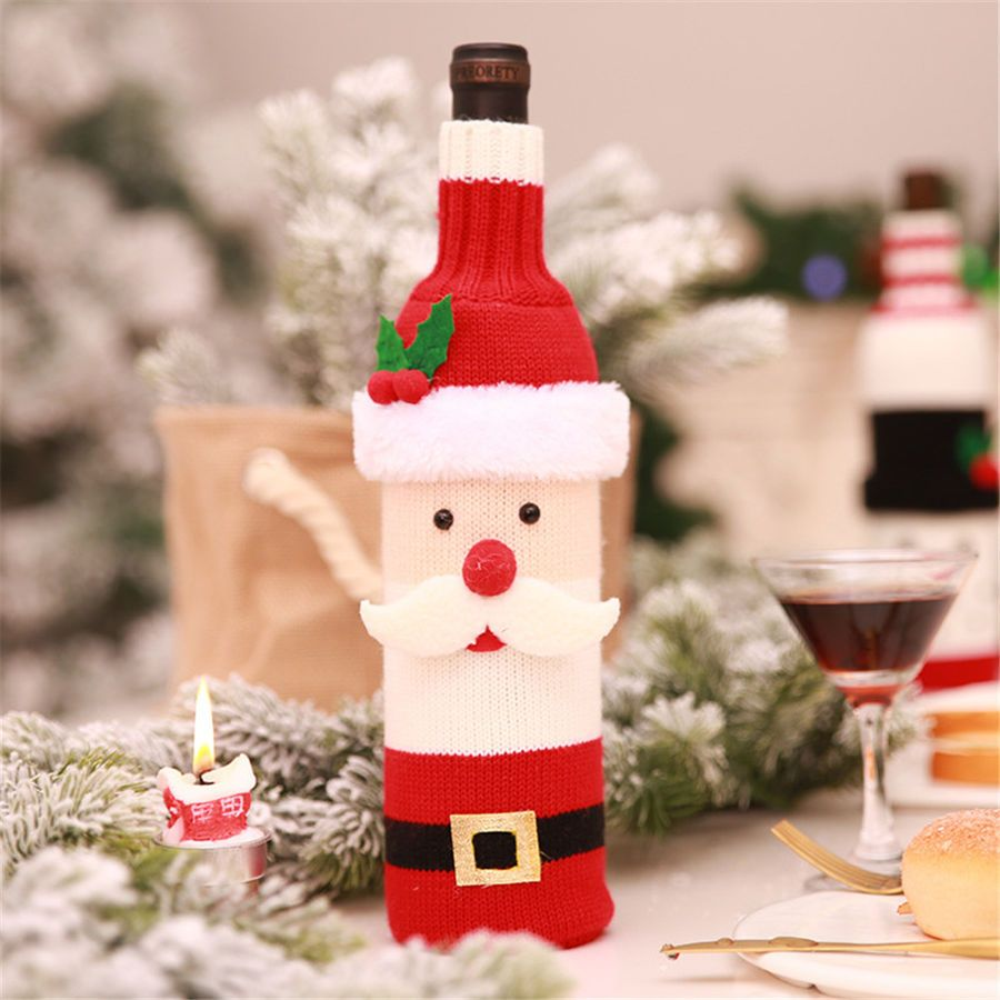 Christmas Bottle Cover Bag Knitted Creative Cartoon Doll Style Wine Bottle Bag Bag Knitted Cove Christmas Wine Bottles Wine Bottle Covers Holiday Wine Bottles