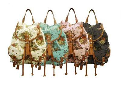 86bebf730978 Women Girl Vintage Cute Flower Floral BAG Schoolbag Bookbag Backpack ...