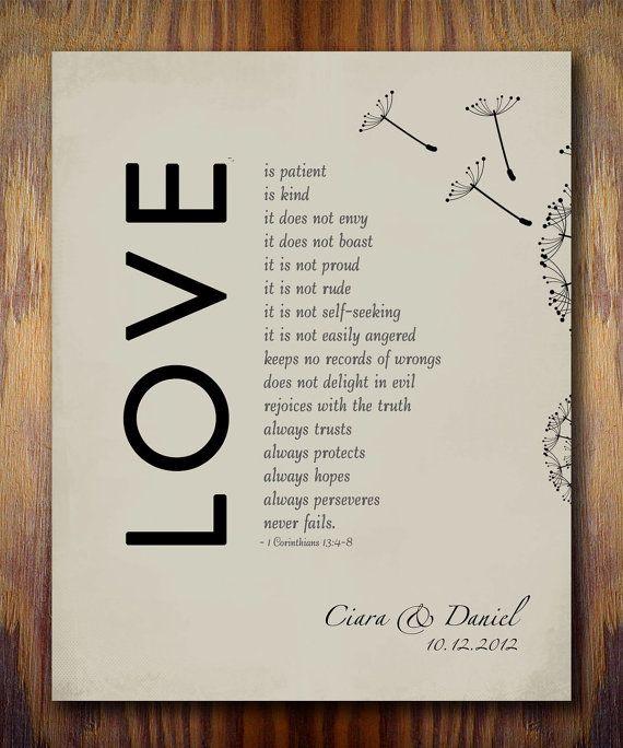 Wedding Quotes Bible: 1st Wedding Paper Anniversary Gift Print, 1 Corinthians 13