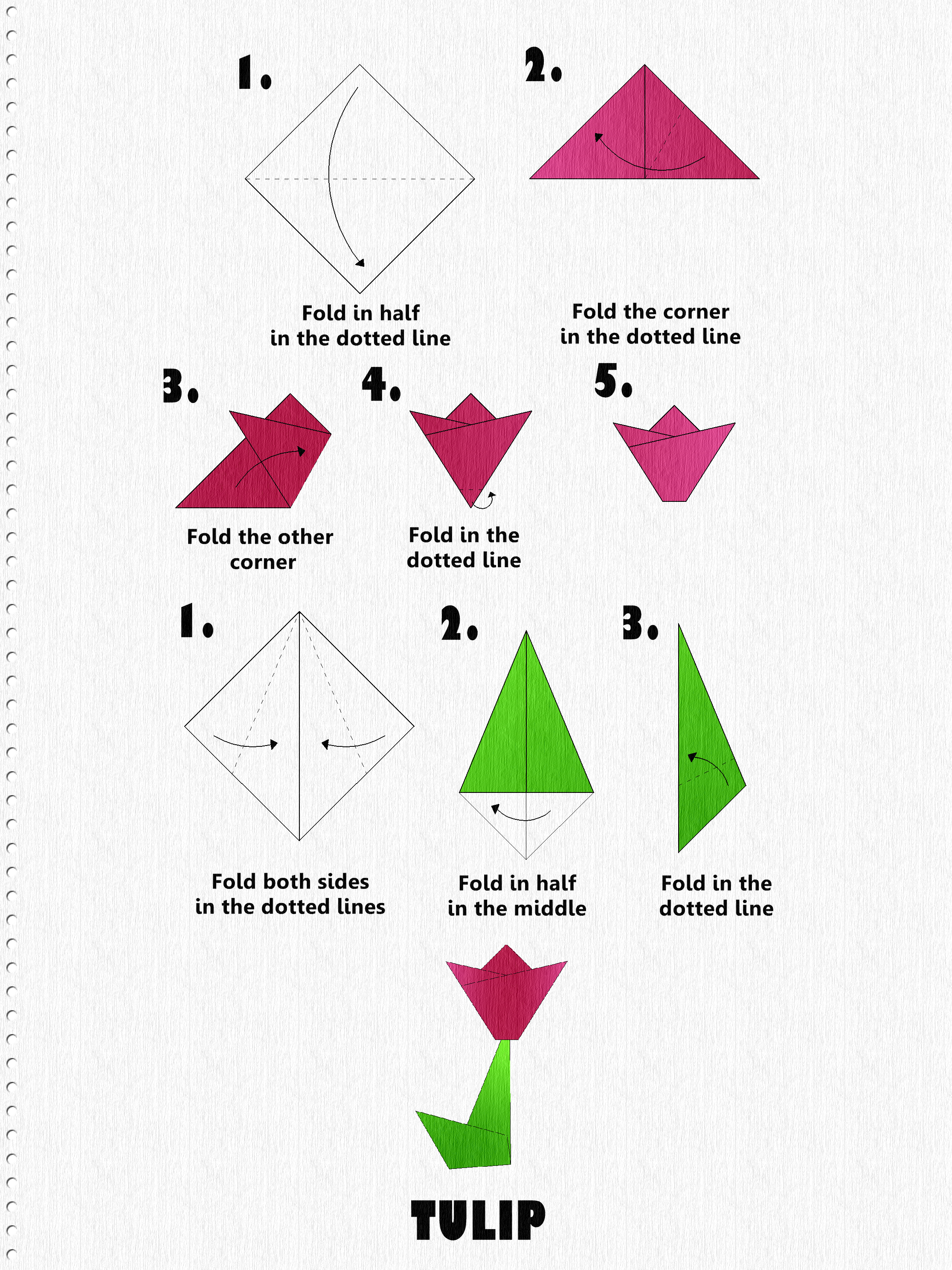 3 origami Rose and Stem Instructions | Origami flowers, Origami ... | 2976x2232