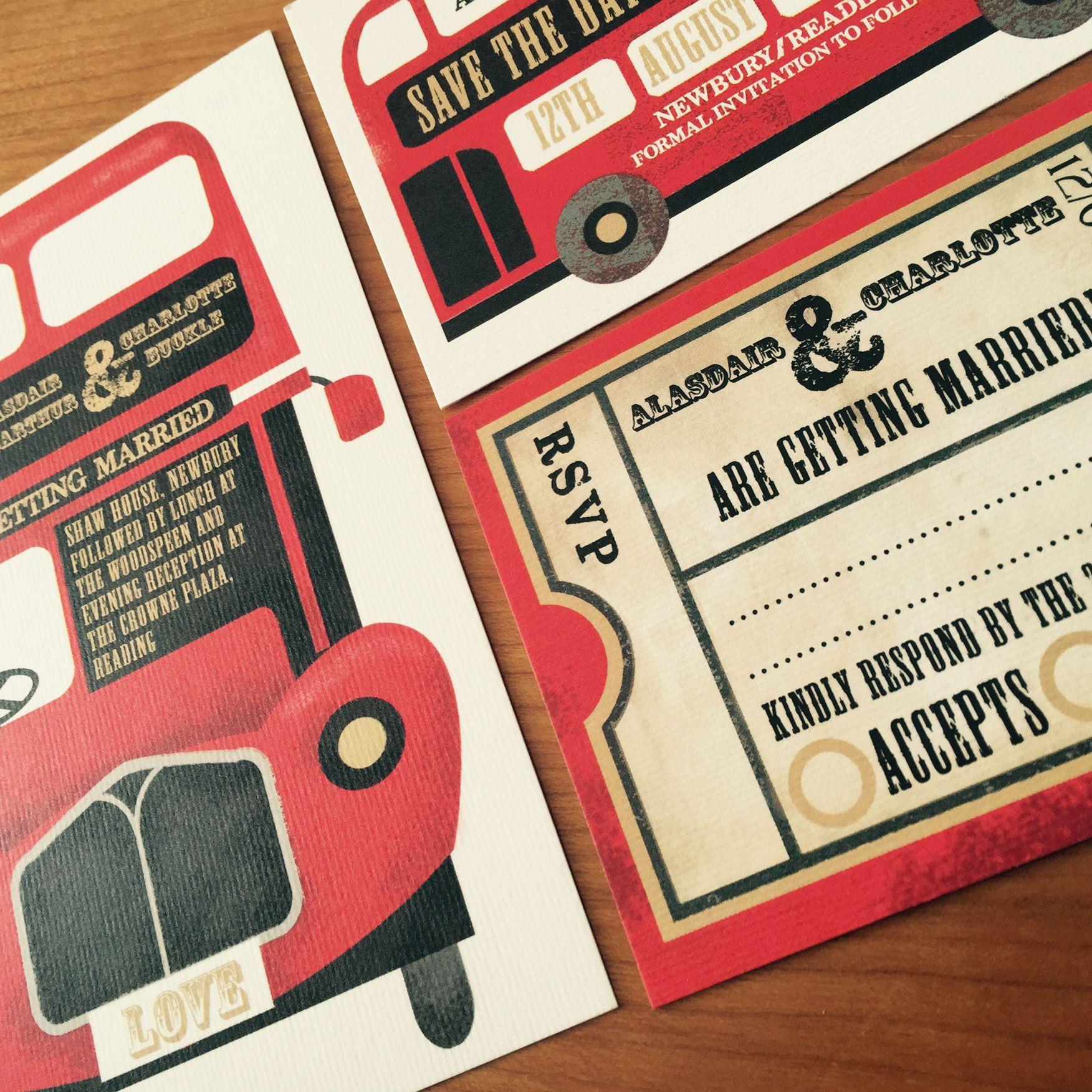 A vintage red bus wedding stationery set, by Top Table Design http ...
