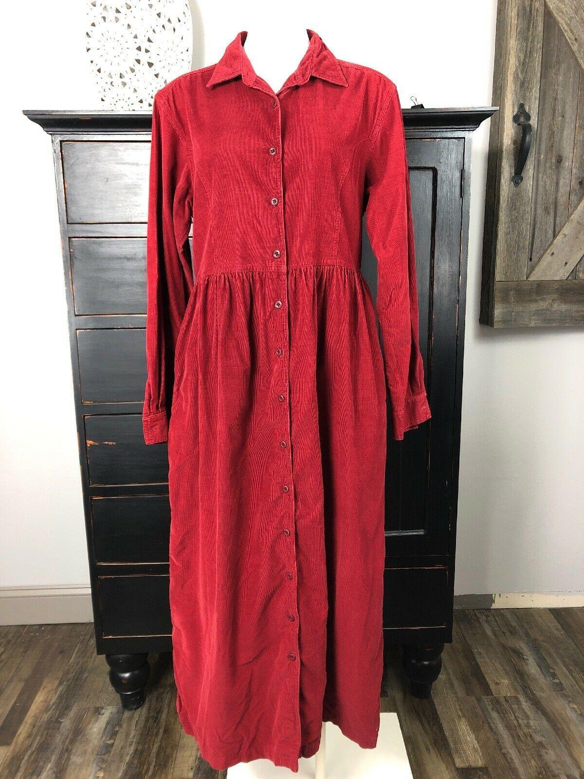Ll Bean Womens 10 Red Corduroy 100 Cotton Button Front Midi Modest Shirt Dress Corduroy Dresses I Polka Dot Shirt Dress Modest Maxi Dress Trending Dresses [ 1600 x 1200 Pixel ]