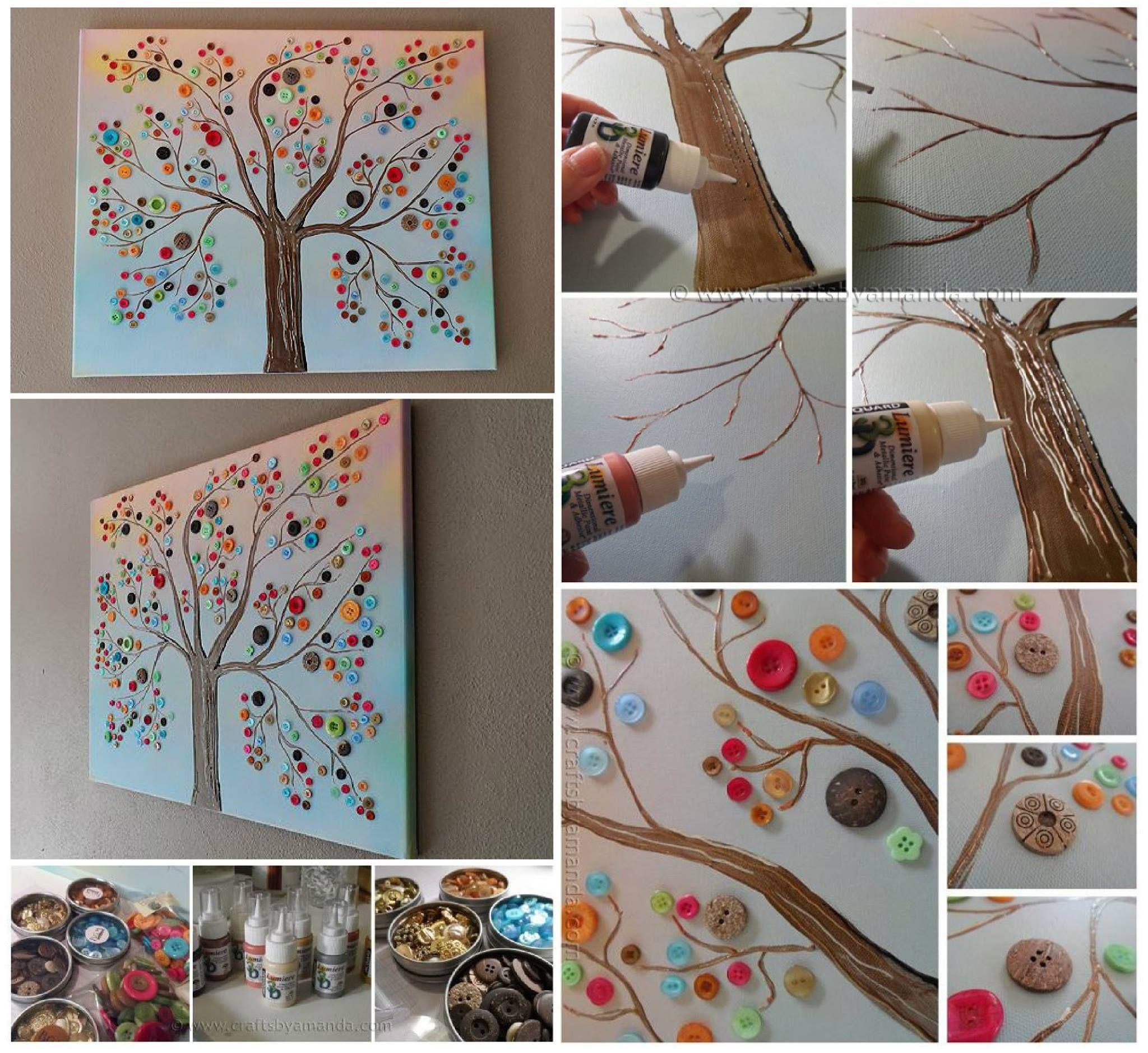 Button tree wall an easy diy video tutorial button tree art