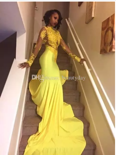 29ce33fcf3c8 Yellow Prom Dresses 2018 Elegant Mermaid African Evening Party Gowns Sheer  Neck Celebrity Dresses For Women Lace Beads Cheap Black Girl