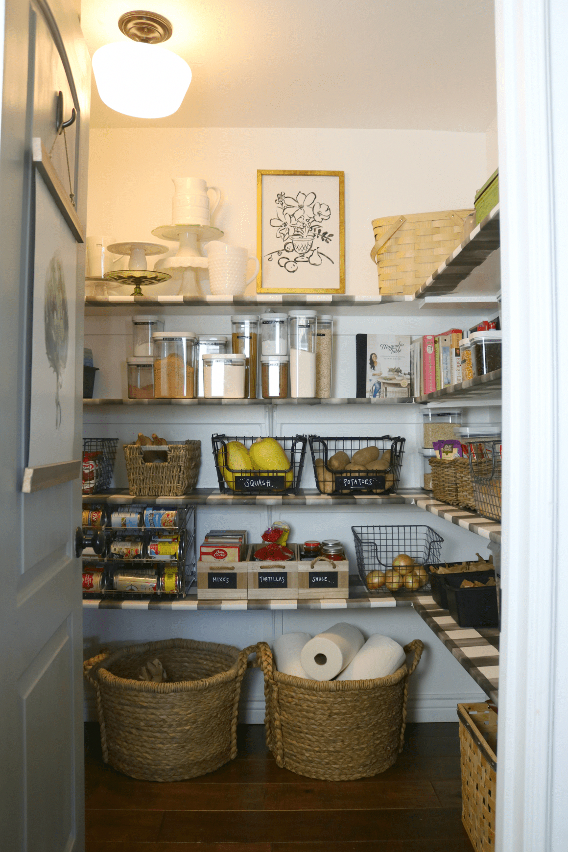 Pantry Makeover With Wallpaper Shelves Nesting With Grace In 2020 Pantry Makeover Wallpaper Shelves Pantry Room