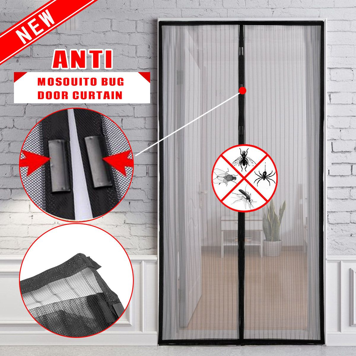 Hands Free Magic Magnetic Mesh Anti Fly Mosquito Bug Door Curtain