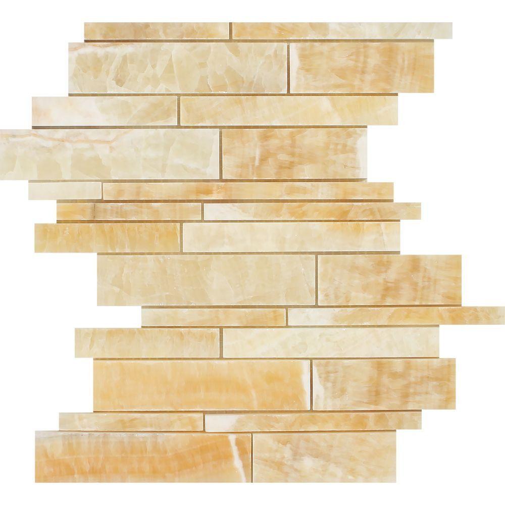Honey Onyx Polished Random Strip Mosaic Tile Moldings