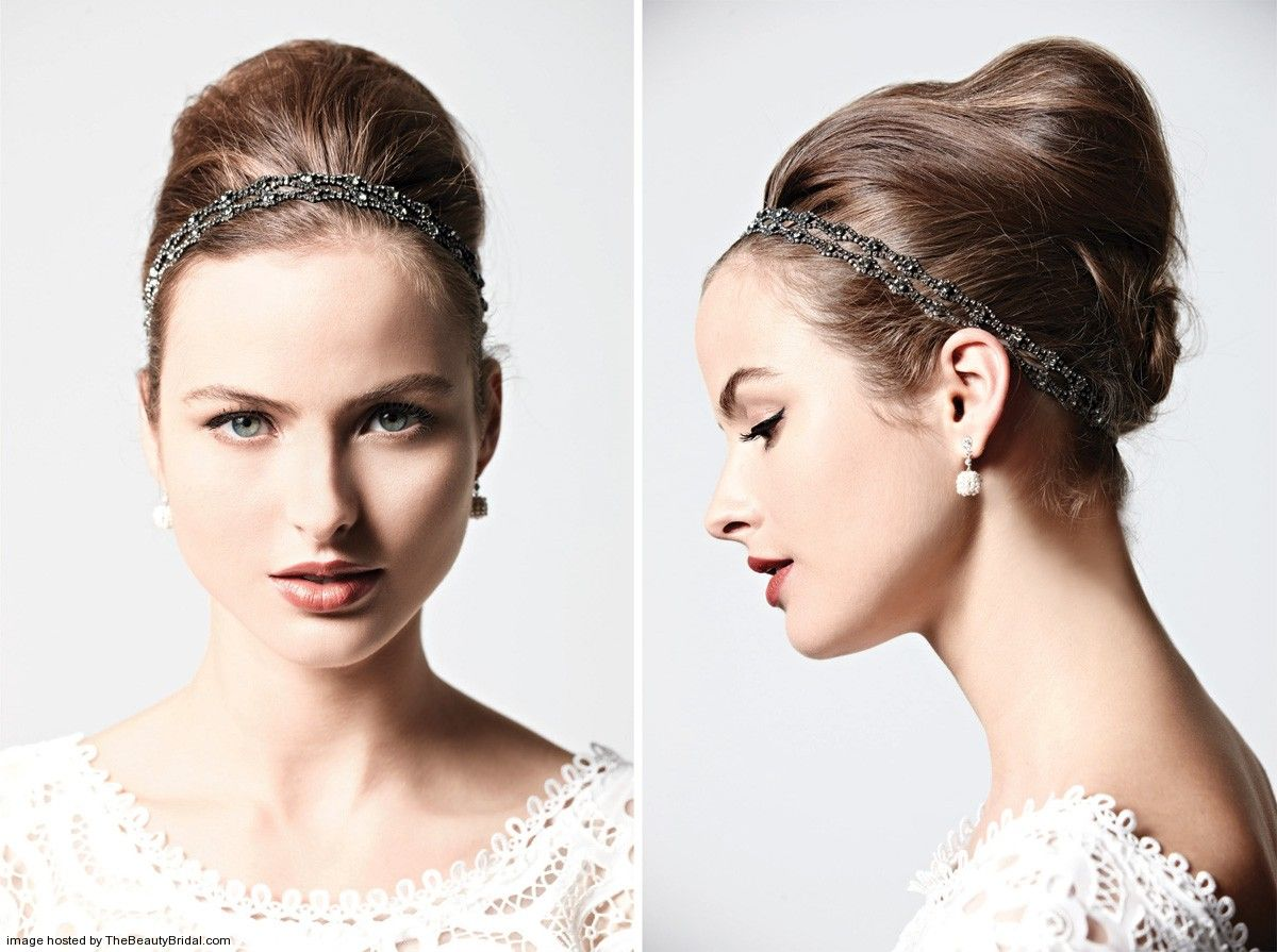 French twist wedding hairsytle with Swarovski crystal headwrap ...