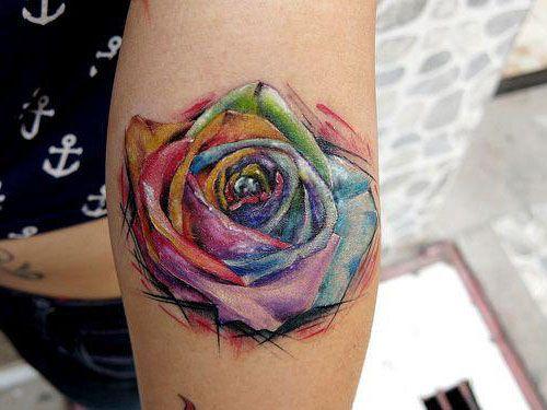 23 Rosa acuarela tattoo