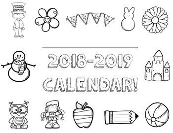 2019-2020 Monthly School Calendar Color and Black & White
