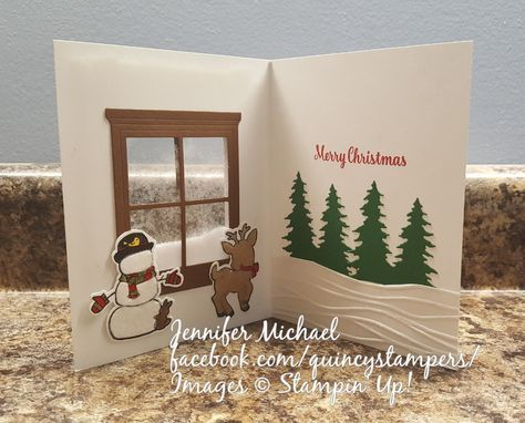 Stampin\u0027 Up! Seasonal Chums Shaker Card with Hearth and Home Dies - decorative christmas trees
