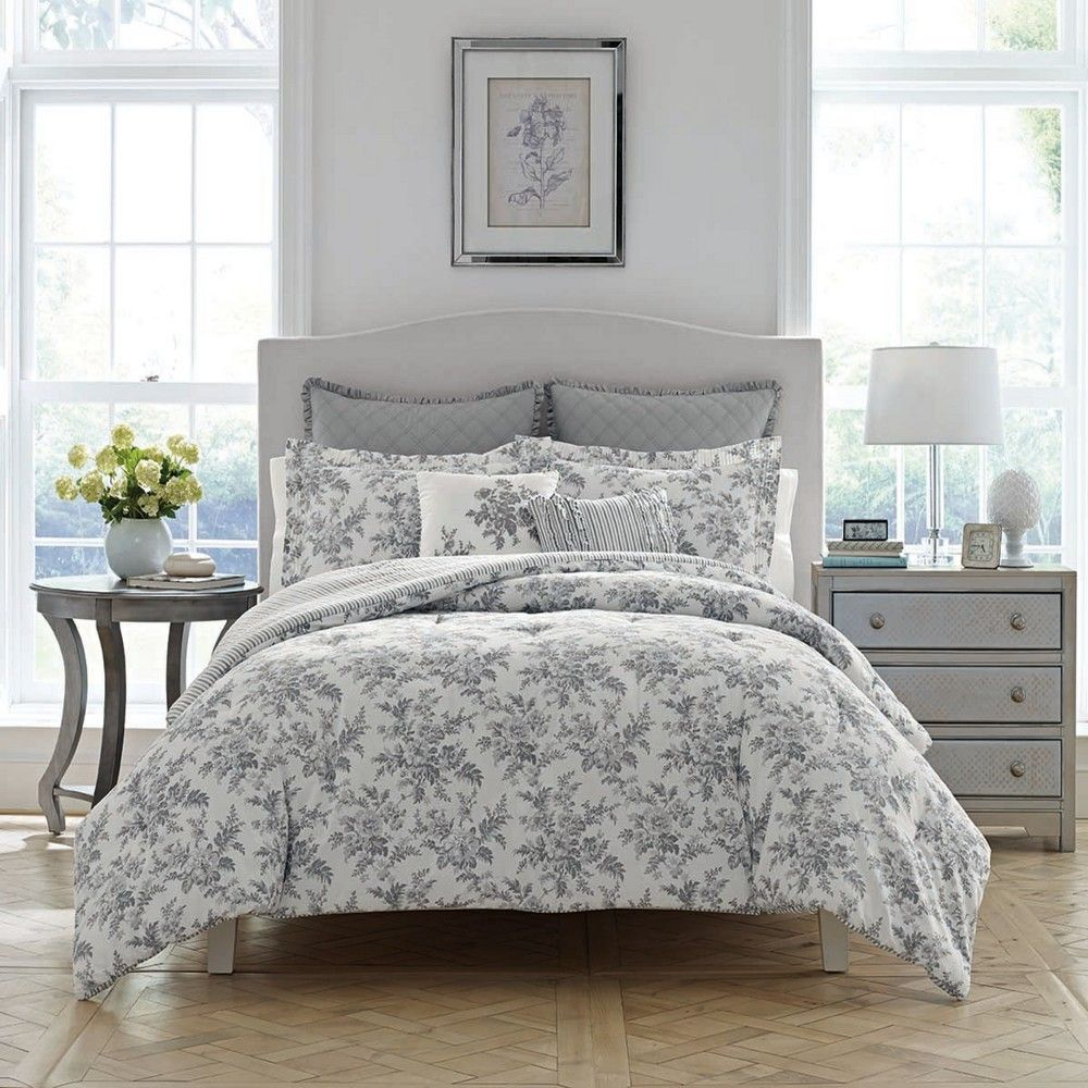 Twin Gray Annalise Comforter Set Laura Ashley in 2020