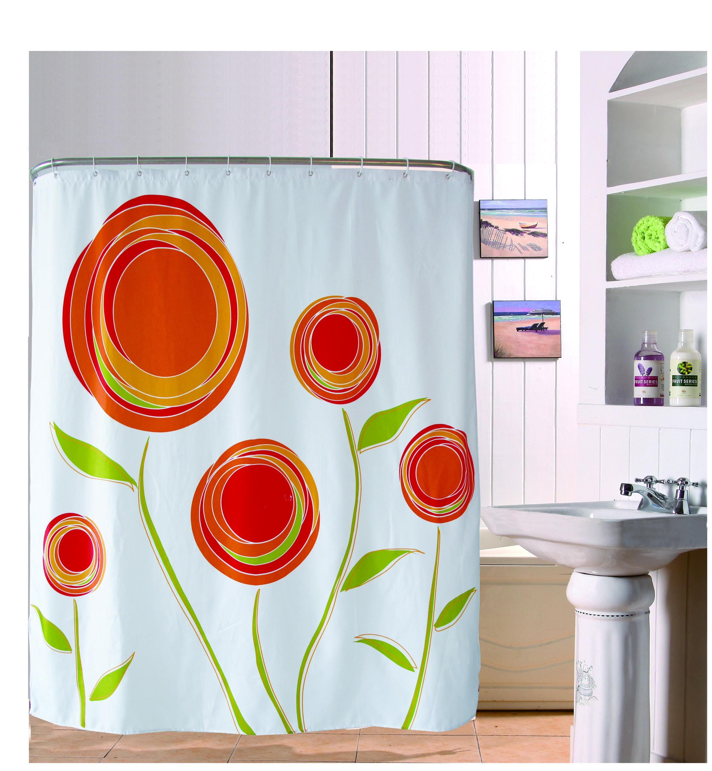 Elegant 180*180cm Simple Design Style Toilet Valance Printed Orange Flower Shower  Curtains Washable Kitchen Drapes
