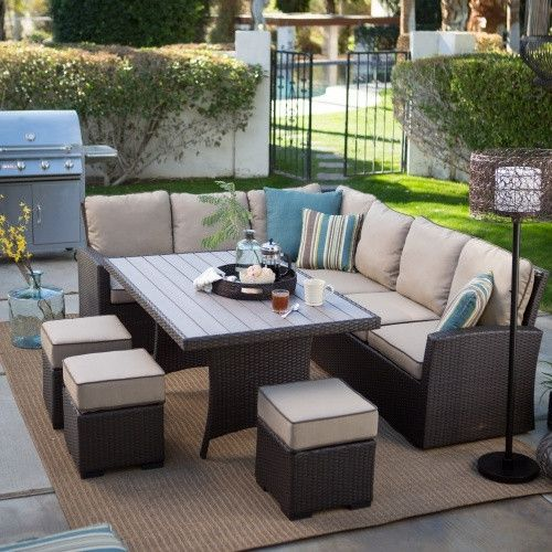 Outdoor Belham Living Monticello All Weather Wicker Sofa Sectional Patio Dining Set
