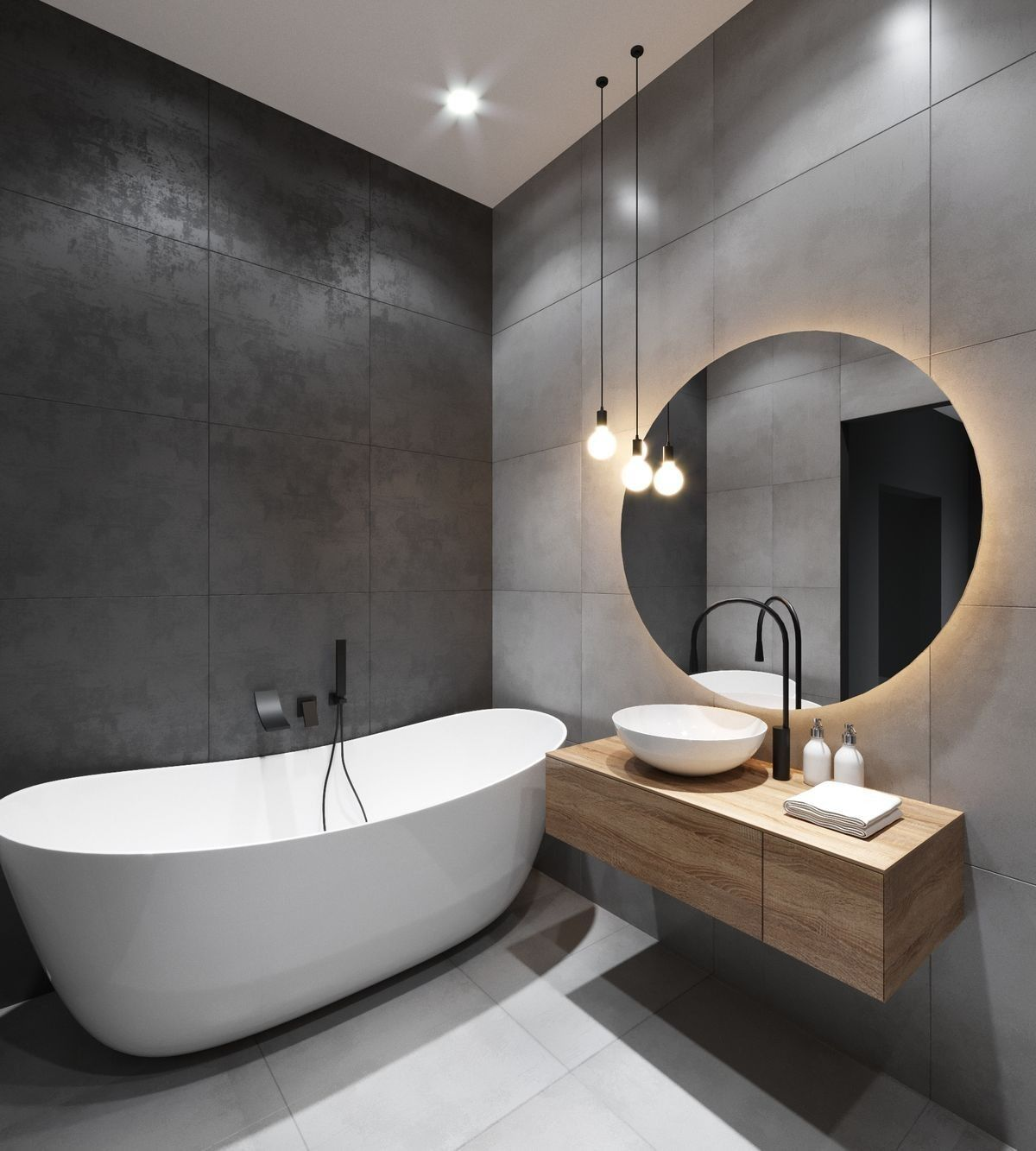 Large Bathroom Tiles Evoke A Sense Of Spaciousness And Calm And Work Very Well In Smaller Rooms Modern Bathroom Small Bathroom Makeover Modern Bathroom Design