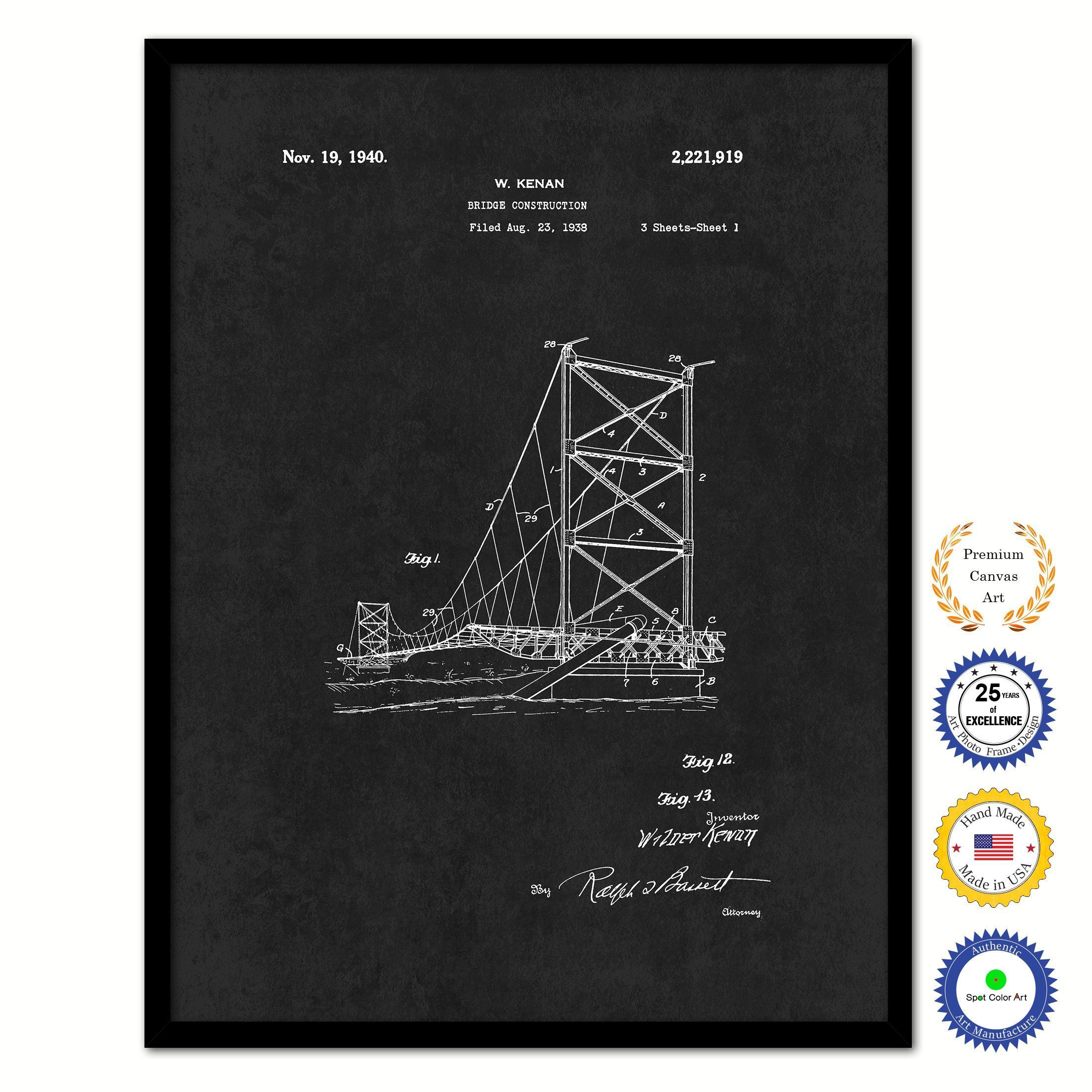 Great Gifts For Architects 1940 Bridge Construction Vintage Patent Artwork Black Framed