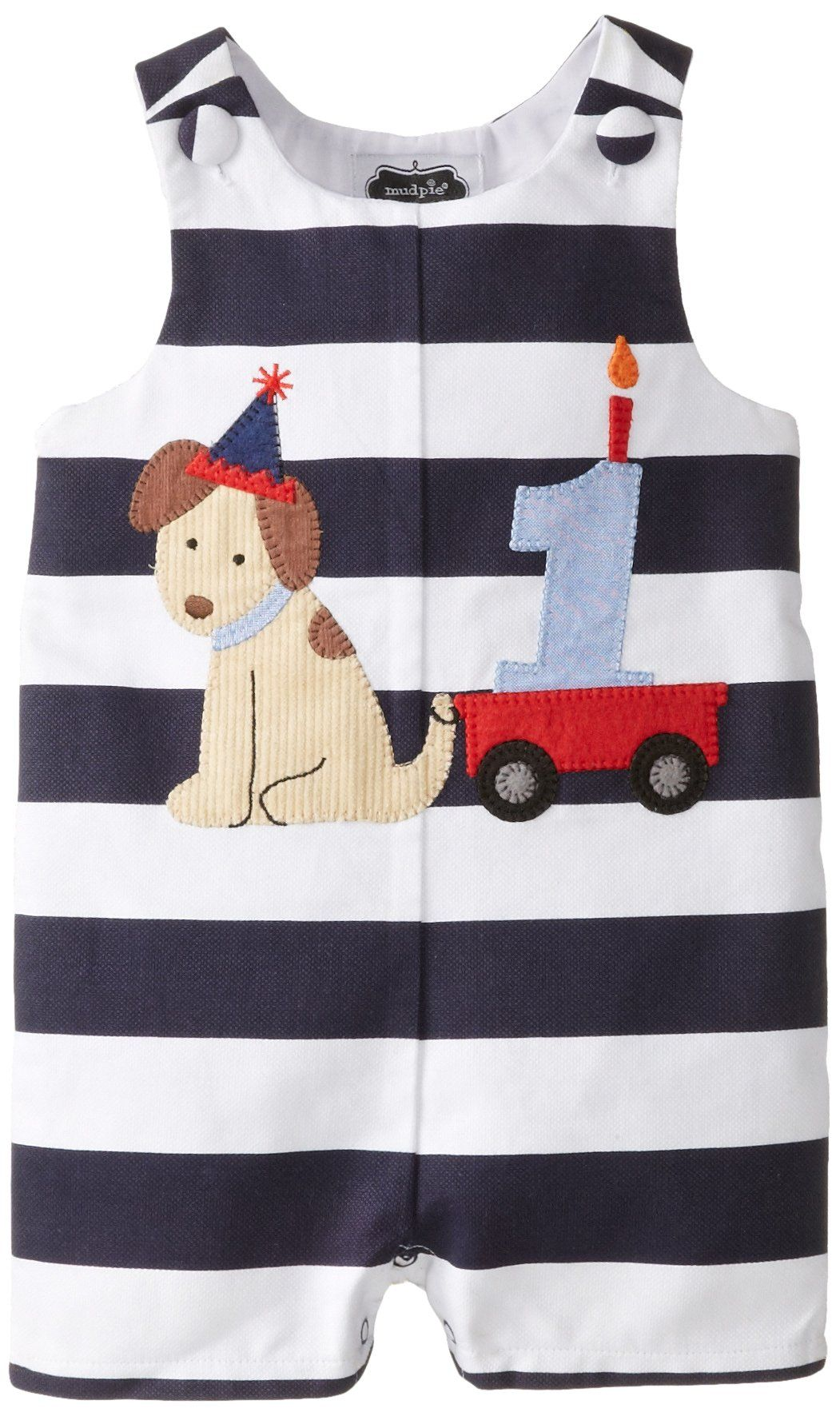 831f94e6c816a Amazon.com: Mud Pie Baby Boys' First Birthday Puppy Shortall, Blue, 12 18  Months: Clothing