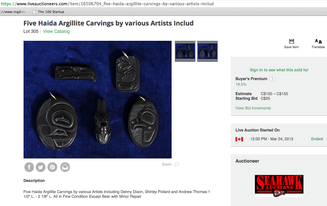 ANDREW THOMAS carving for sale https://www.liveauctioneers.com/item/16506704_five-haida-argillite-carvings-by-various-artists-includ
