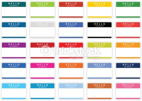 25 Color Name Tag Hello My Is Template Label Green Yellow Gray Cobalt Black Red Violet Orange Pink Blue Purple Brown Blank Stickers With