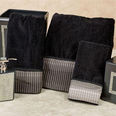 Cypher Black Cotton Velour Bath Towel Set by Veratex