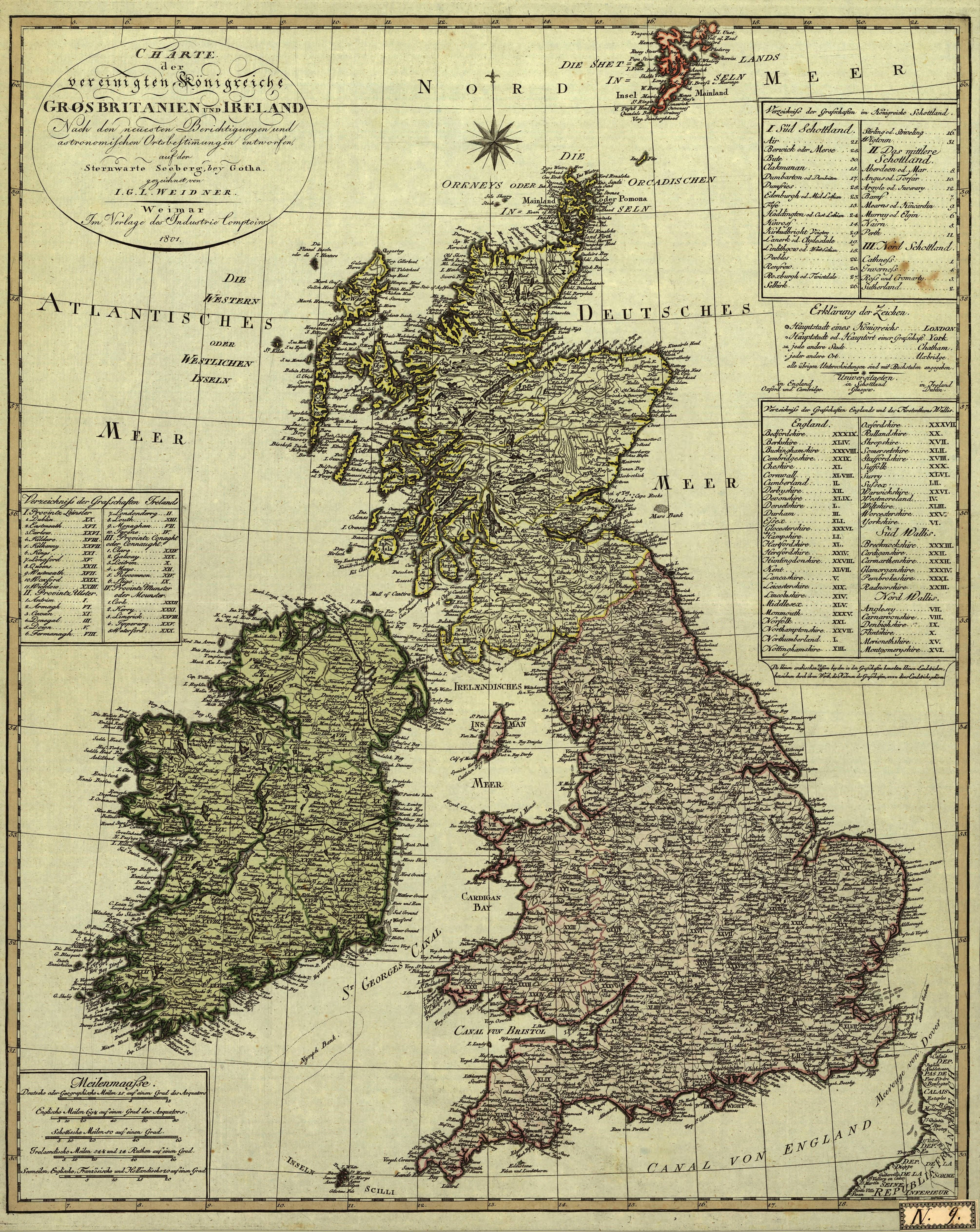 German Map Of Great Britain And Ireland 1801 Map Of Great Britain German Map Map Of Britain