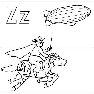 Letter Z Coloring Page Zebra Zorro Zeplin Color It In Online