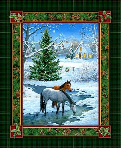 Quilt Fabric Panel Blessed Are They Christmas Horses Wild Wings ... : horse quilting fabric - Adamdwight.com