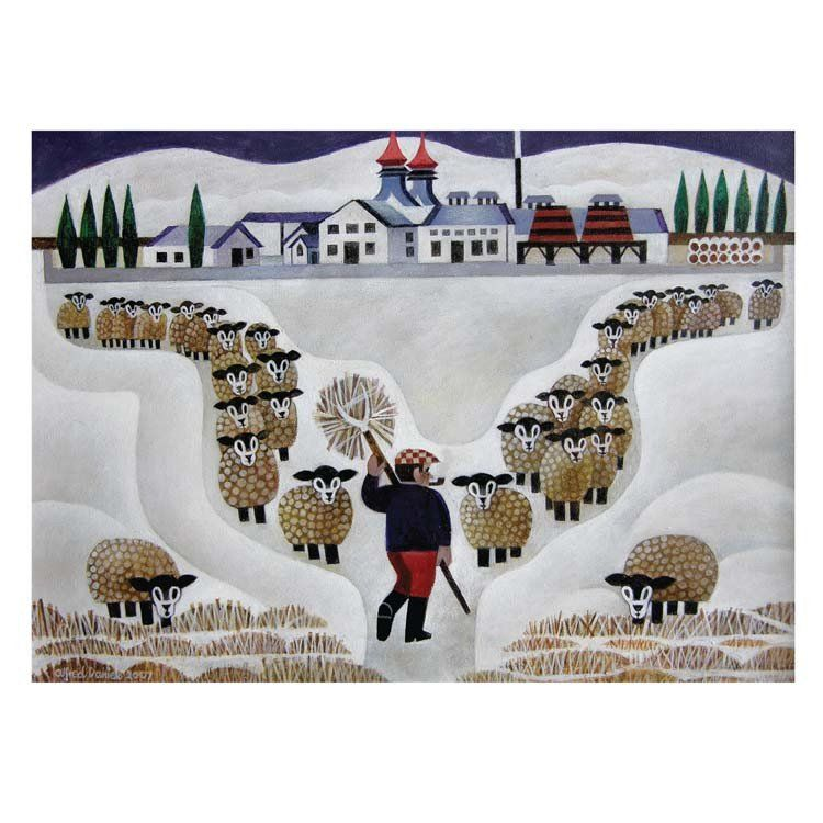 Winter in dalwhinnie pinterest winter landscape and acrylics fine art greeting card acrylic winter landscape with sheep and farmer m4hsunfo