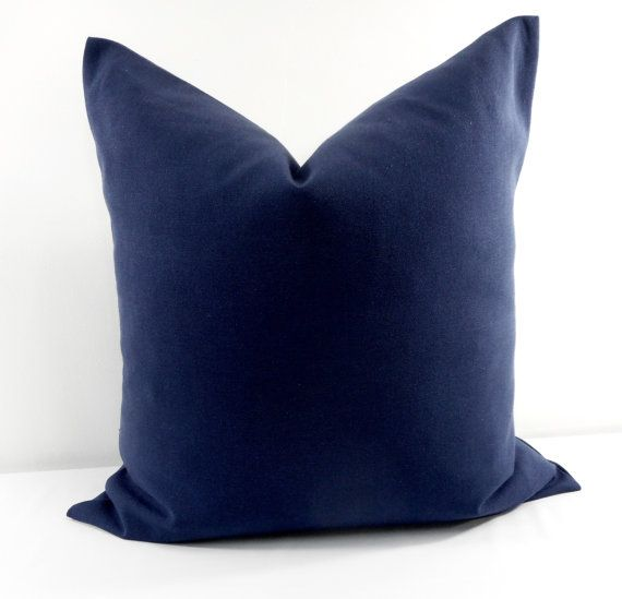 SALE Navy Blue Pillow Cover. Blue solid by TwistedBobbinDesigns