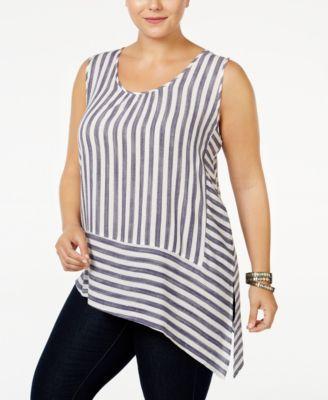 1b93e6e3a46 Monteau Plus Size Striped Asymmetrical Top