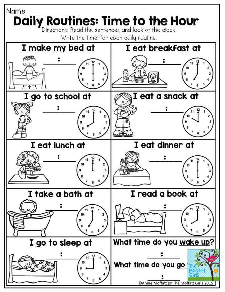 Reading Time Worksheets or Daily Routines Time to the Hour