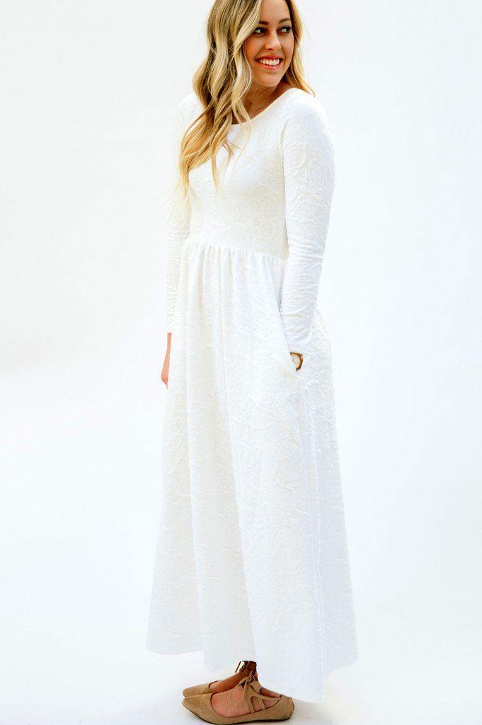 LDS Temple Dress: Floral Pattern   Vestiditos