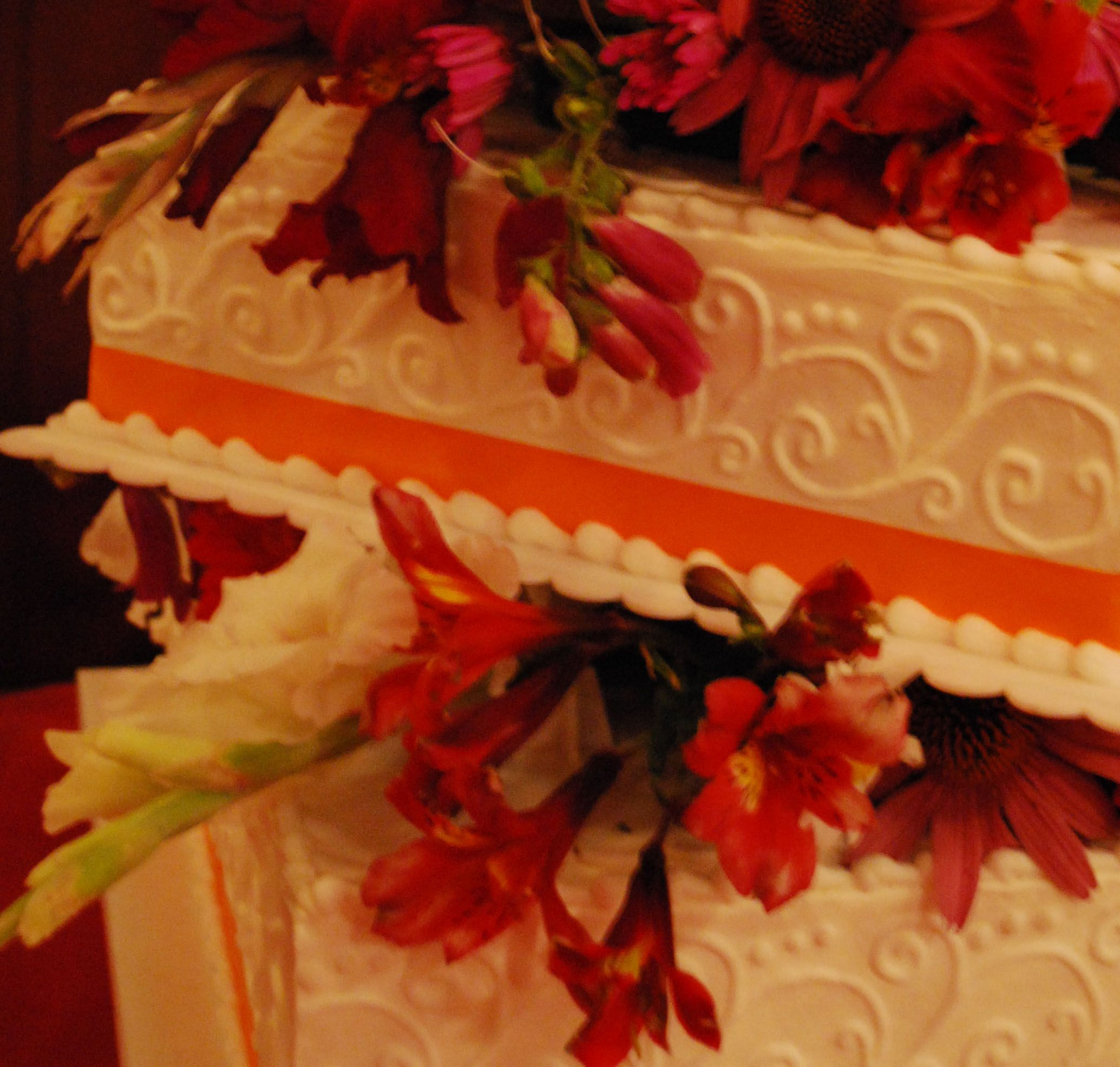 Square Wedding Cake With Tone On Side Scrollwork