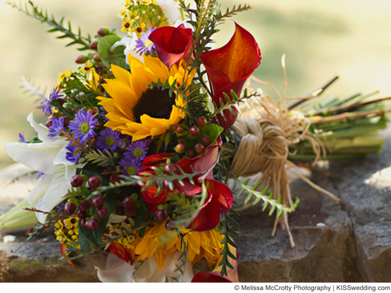 autumn sunflower bouquet ideas for a budget wedding bouquet made with fall wedding flowers