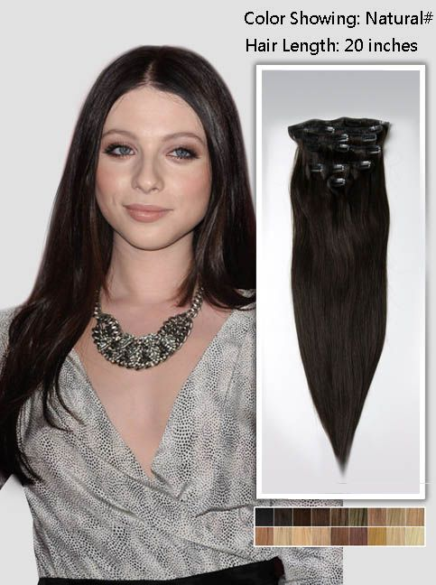 20 Off Black Indian Remy Clip In Hair Extensions Usna20 115g