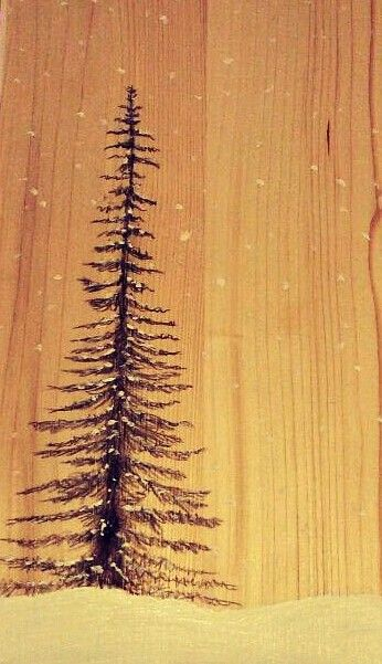 Charcoal Christmas tree drawing on reclaimed wood | Sketchbook ...