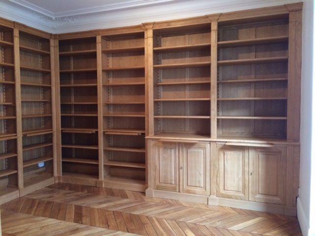 bibliotheque-angle-parquet Rangements Pinterest
