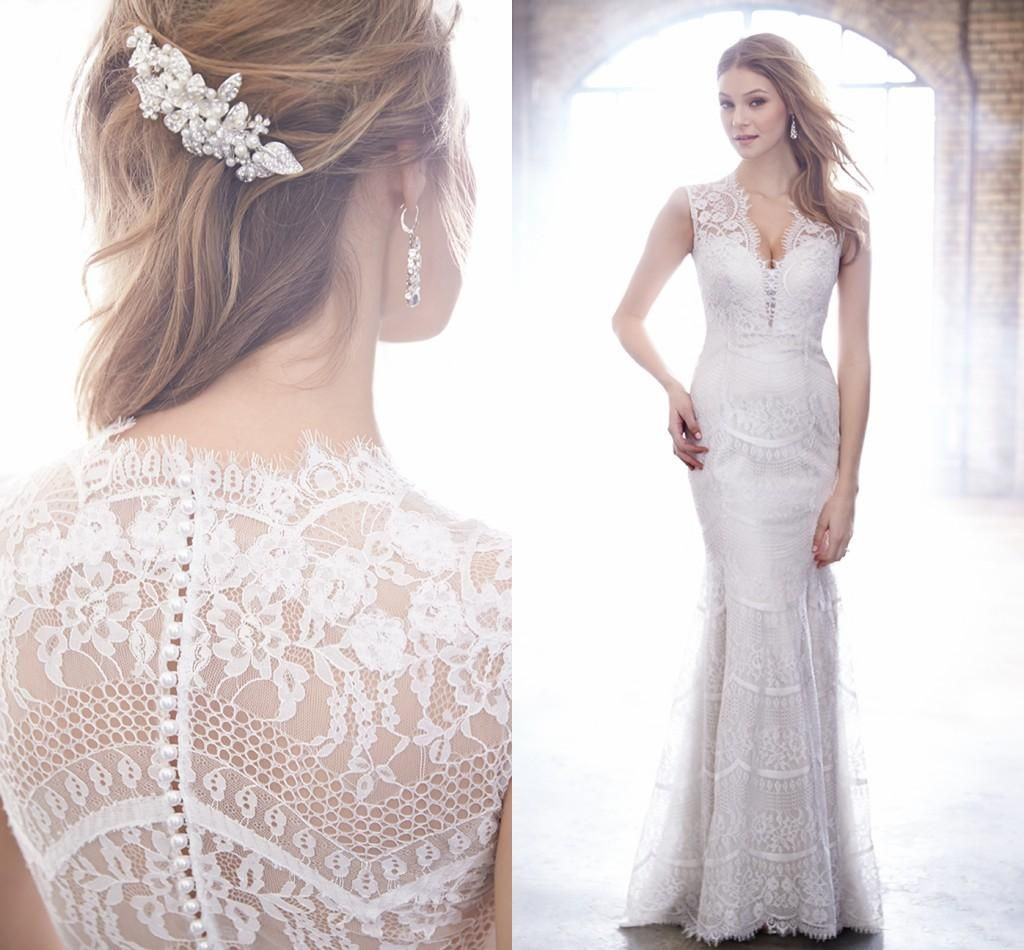 2016 Sheath Wedding Dresses Uk by Madison James V Neck Lace Elegant Bridal Gowns with Pearls Back And Sweep Train Vestido De Noiva from Nicedressonline,$209.43 | DHgate.com