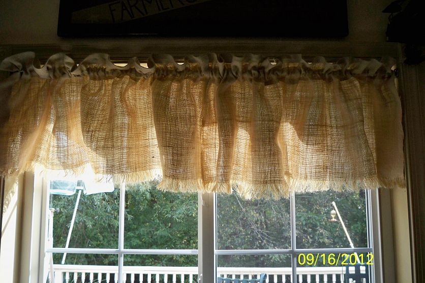 Burlap Window Valance No Sew But Lots Of Paint Burlap Window Treatments Diy Valance Burlap Curtains Kitchen