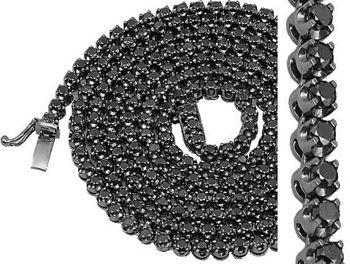 10K Gold Black Rhodium Plated Mens Diamond Tennis Chain Necklace With Black  Diamonds 15.00 Ct 232a0f90b