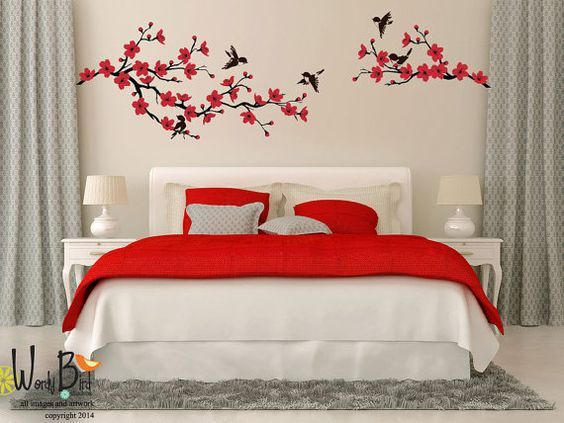 Best Cherry Blossom Branch Wall Decal With Birds By Wordybirdstudios Wall Stickers Bedroom Wall 400 x 300