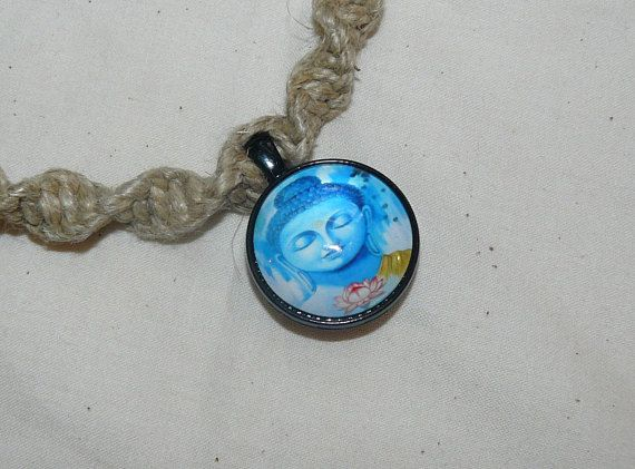 Glass pendant hemp necklace swirl knot blue zen buddha my glass pendant hemp necklace swirl knot blue zen buddha mozeypictures Images
