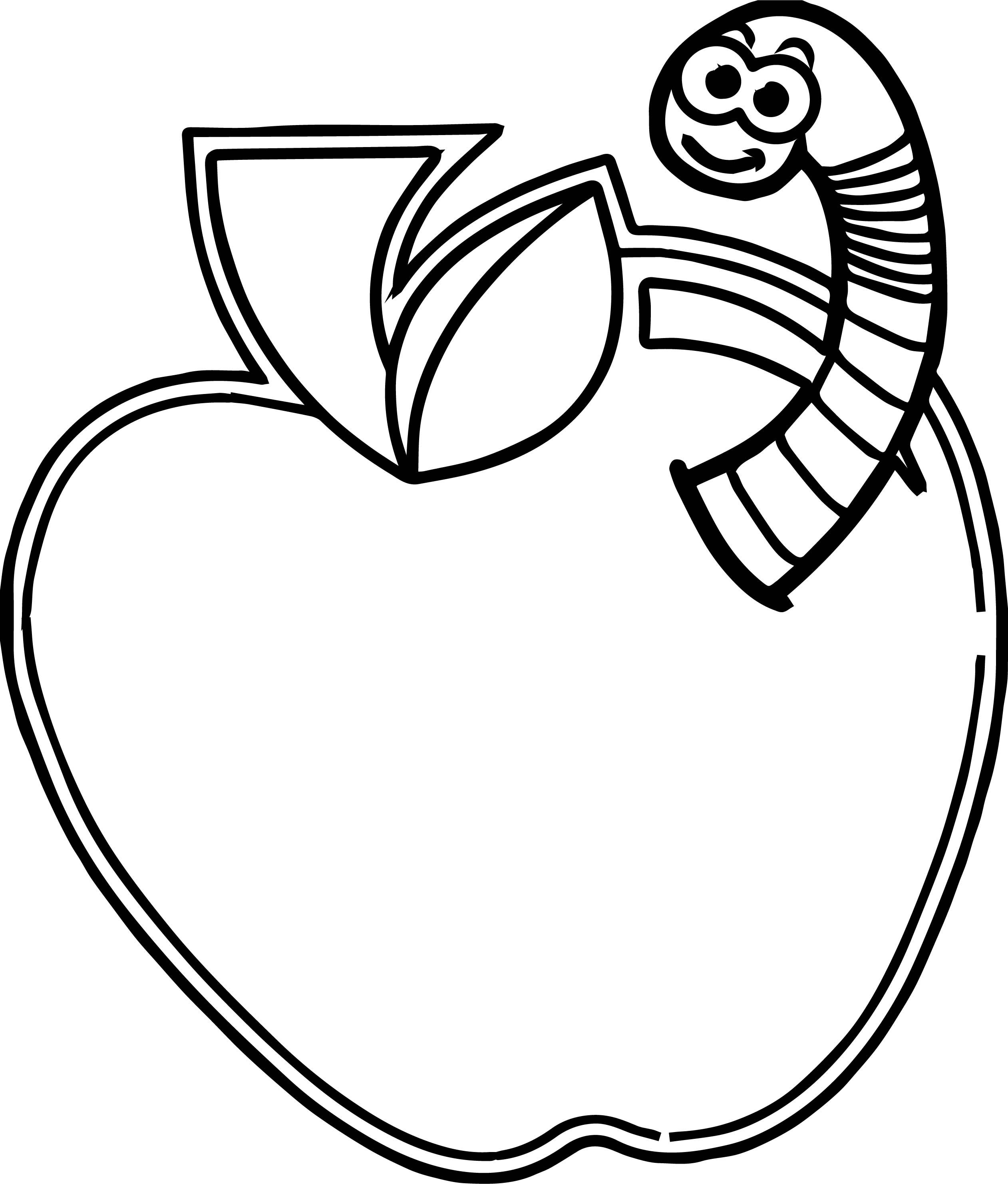 Cool Apple Worm Coloring Pages Tree Coloring Page Coloring