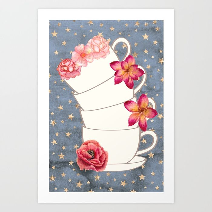 Floral coffee cups vintage art print on society 6 home decor printables home office art kitchen art home decor wall art make a blank spac