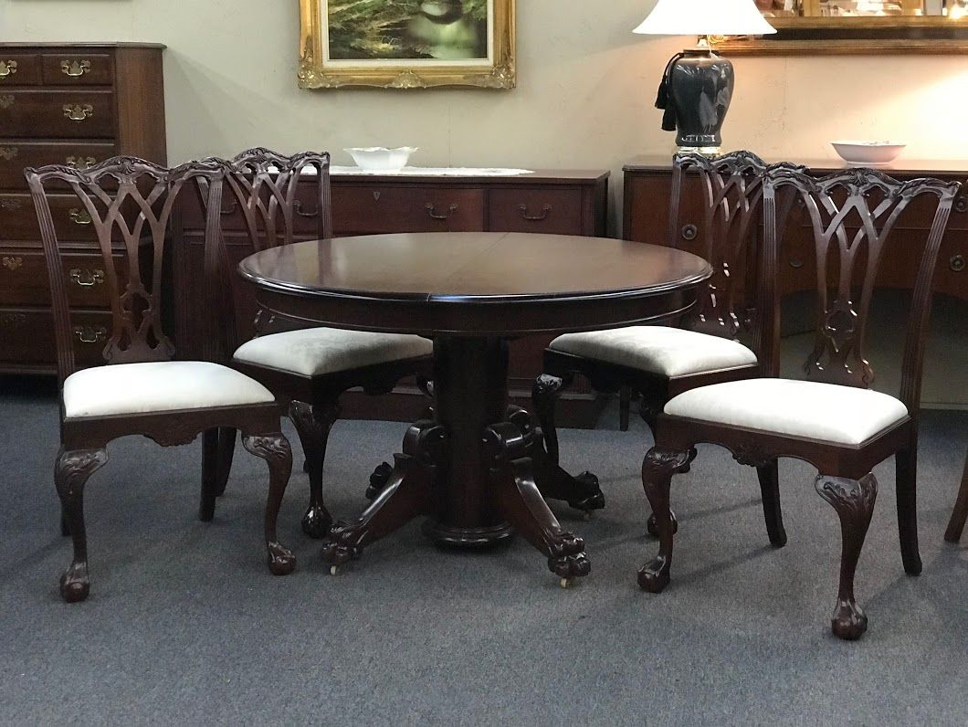 Mahogany Chippendale Round Paw Foot Table And Chairs On Sale Table