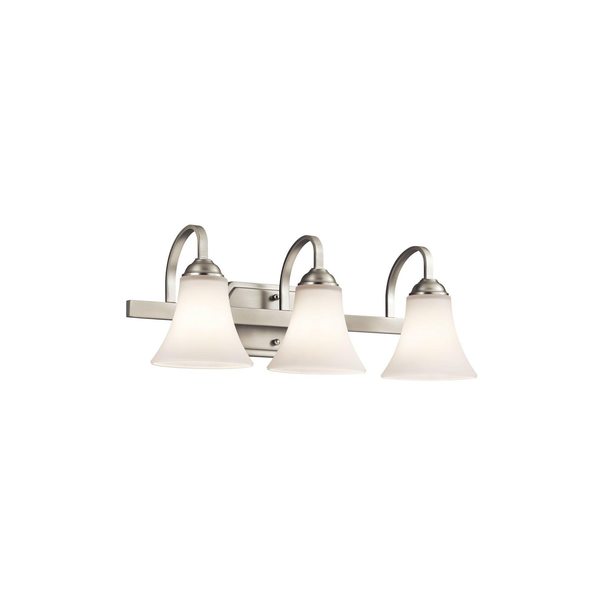 "Photo of Kichler 45513 Keiran 22 ""Wide 3-Bulb Bathroom Fixture – Brushed Nickel"