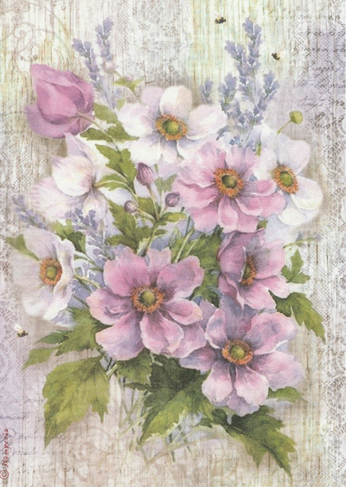 Pure Male Flowers Violet Decoupage Rice Paper R0217-1 x A4 Sheet of decoupage Rice Paper